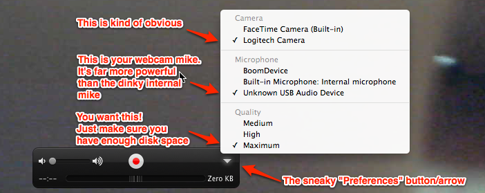 How to record HD video from a Logitech webcam on OS X
